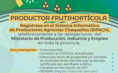 CONVOCAN A PRODUCTORES FRUTIHORTÍCOLAS A REGISTRARSE EN EL SIPACH